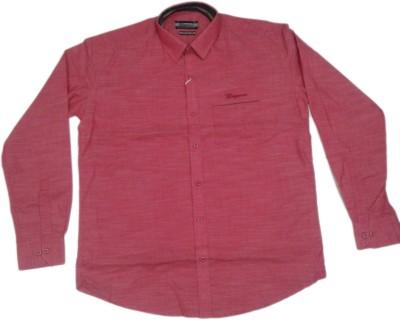 rc Men's Self Design Casual Orange Shirt