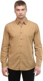 Sleek Line Men's Printed Casual Beige Sh...