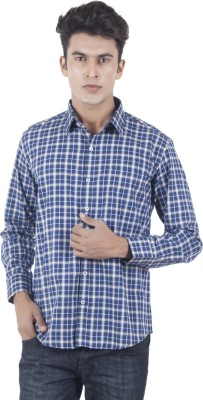 Eden Elliot Men's Checkered Formal Blue, Beige Shirt