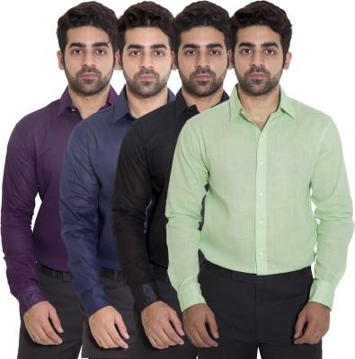 deekshavastra Men's Solid Casual Green Shirt