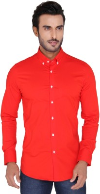 Mode De Base Italie Men's Solid Casual Red Shirt