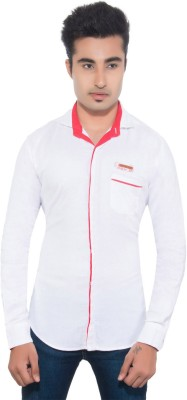Goodkarma Men's Self Design Casual White Shirt