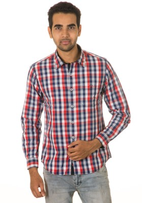 West Vogue Men's Checkered Casual Red Shirt