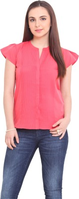 La Stella Women's Solid Casual Pink Shirt