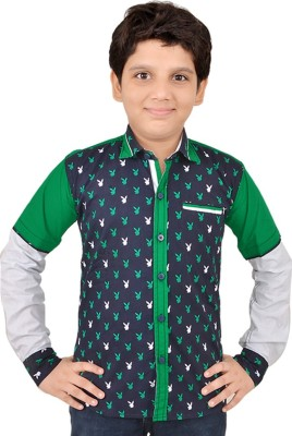 Little Dabang Boy's Printed Casual Green Shirt