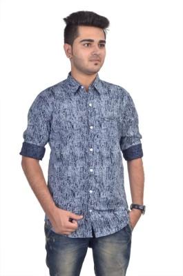 Revine Men's Printed Casual Blue Shirt