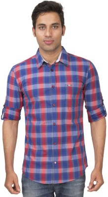 Truccer Basics Men,s Checkered Casual Red Shirt