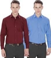 Jss Fashions Formal Shirts (Men's) - Jss Fashions Men's Solid Formal Maroon, Dark Blue Shirt(Pack of 2)