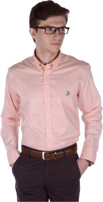 FRANK JEFFERSON Men's Solid Casual Orange Shirt