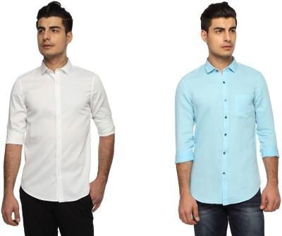 Marc N, Park Men's Self Design Casual Multicolor Shirt