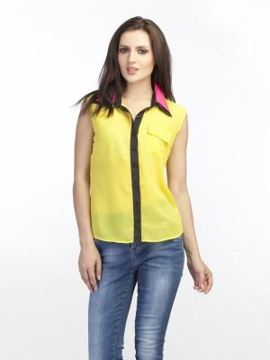 Schwof Women's Solid Casual Yellow Shirt