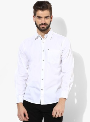 Erza Men's Solid Casual White Shirt