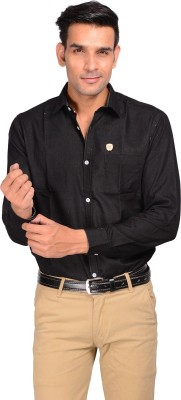 GARGI FASHIONS Men's Solid Casual Black, White Shirt