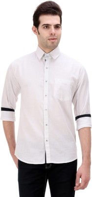 American Buck Men's Solid Casual White Shirt