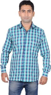 Aces Blue Men's Checkered Formal Green Shirt