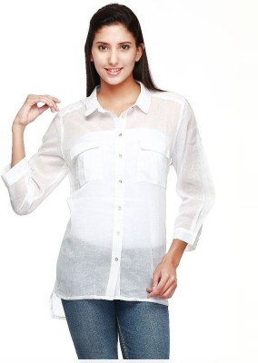 Guapa Spain Women's Embroidered Casual White Shirt