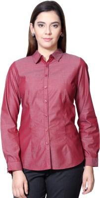 People Women's Geometric Print Formal Maroon Shirt