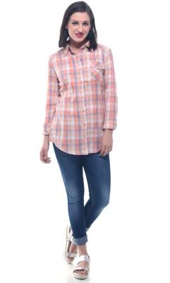 Lyla Women's Checkered Casual Orange Shirt