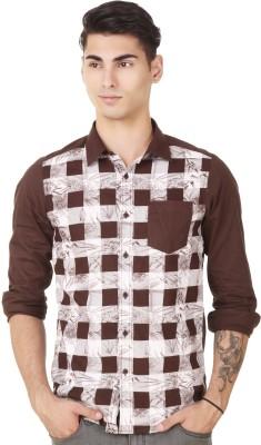 4 Stripes Men's Printed Casual Brown Shirt