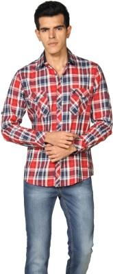 Provogue Men's Checkered Formal Red Shirt