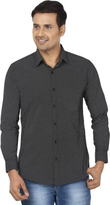 Edinwolf Men's Printed Casual Grey, White Shirt