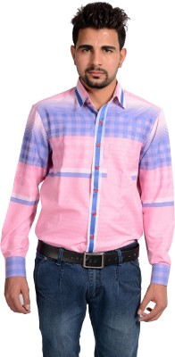 Riwas Collection Men's Printed Casual Pink, Blue Shirt