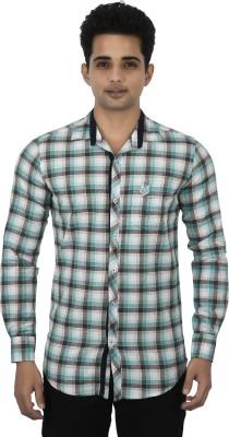 Jim Scott Men's Checkered Casual Light Green, Brown Shirt