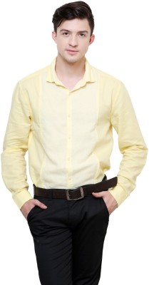 Azo Men's Solid Casual Linen Yellow Shirt