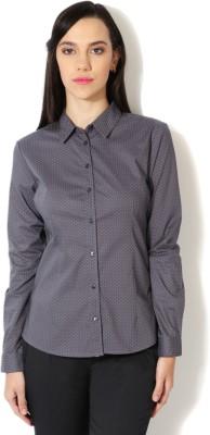 Van Heusen Women's Polka Print Casual Grey Shirt