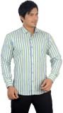 Radbone Men's Striped Formal Linen Green...
