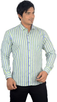 Radbone Men,s Striped Formal Linen Green, Blue Shirt
