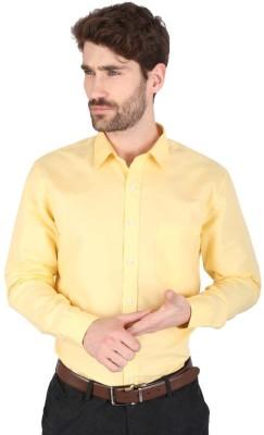 Big Tree Men,s Solid Formal Linen Yellow Shirt