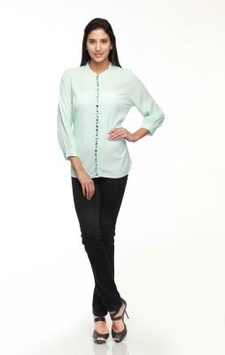 Guapa Spain Women's Self Design Casual Light Green Shirt