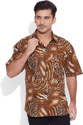 Very Me Men's Animal Print Casual Brown Shirt