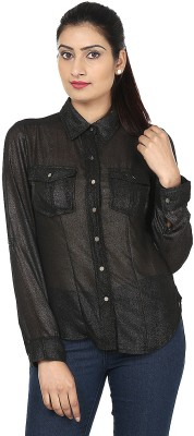 Aalliya's Creation Women's Solid Casual, Party Black Shirt