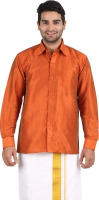 Officers Choice Men's Solid Casual Orange Shirt