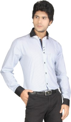 Red Country Men's Striped Casual White, Black Shirt