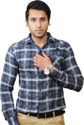 Flakes Fashion Men's Checkered Casual Blue Shirt