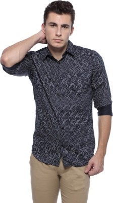 Derby Jeans Community Men's Printed Casual Dark Blue Shirt