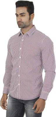 Flying Machine Men's Striped Formal Red Shirt