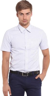 Classic Polo Men's Striped Casual White Shirt