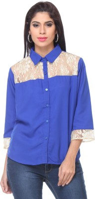 Lavennder Women's Solid Casual Blue Shirt