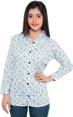 Membooz Women's Floral Print Casual White, Green Shirt