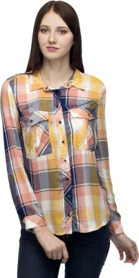 One Femme Women's Checkered Formal, Party Multicolor Shirt