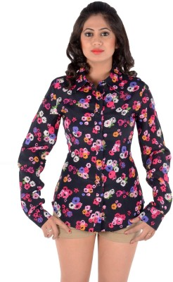S9 Women's Printed Casual Black, Pink, White, Blue Shirt