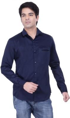 HOH Men's Solid Casual Dark Blue Shirt