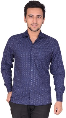 Rank Men's Polka Print Casual Dark Blue Shirt