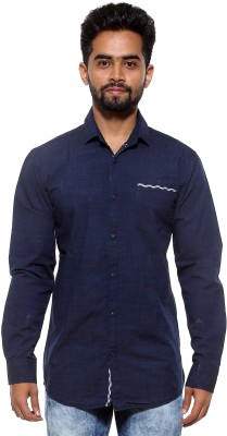 FIFTY TWO Men's Solid Casual Dark Blue Shirt