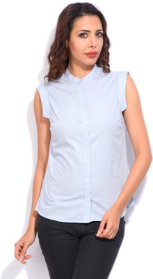 Vanheusen Womens Printed Casual Light Blue Shirt