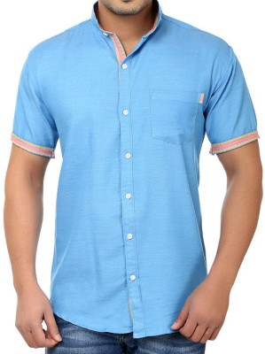 Golf Club Men's Solid Casual Blue Shirt